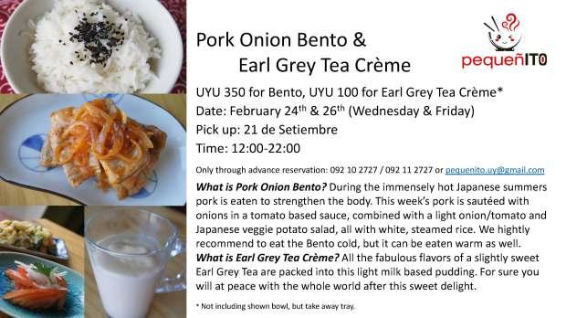 Pork Onion Bento with Dessert pick up February 2016